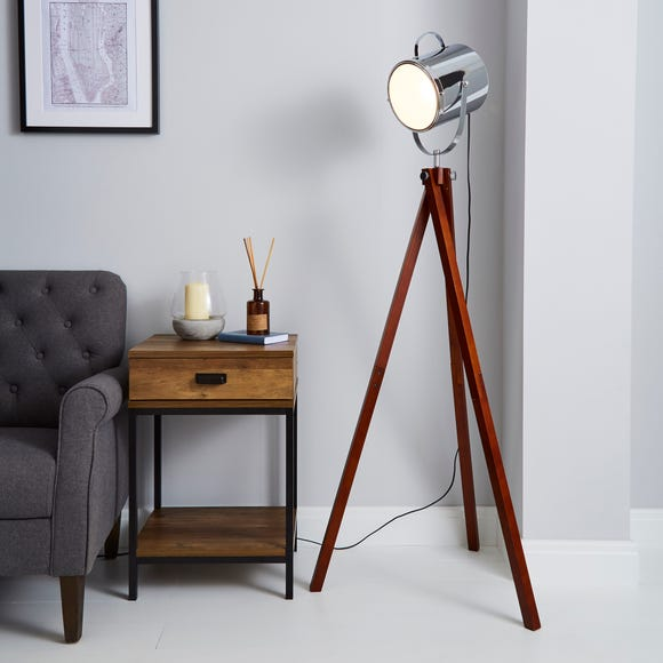 Carlton Camera Tripod Wood Floor Lamp Silver