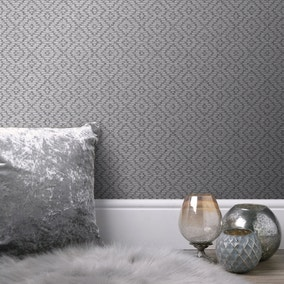 Textured Diamond Grey Wallpaper