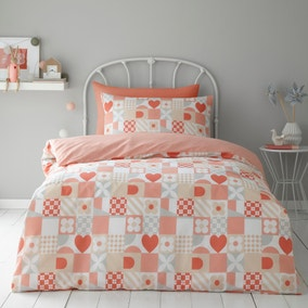 Patchwork Pink 100% Cotton Duvet Cover and Pillowcase Set