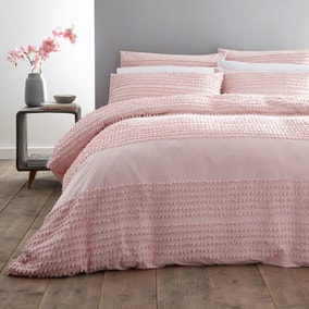 Bianca Cotton Malmo Blush 100% Cotton Duvet Cover and Pillowcase Set