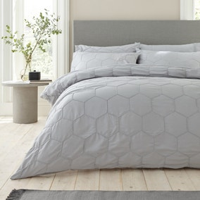 Bianca Cotton Honeycomb Pinch 100% Cotton Duvet Cover and Pillowcase Set