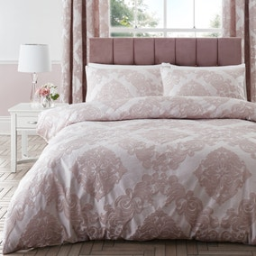 Catherine Lansfield Rococo Jacquard Blush Duvet Cover and Pillowcase Set