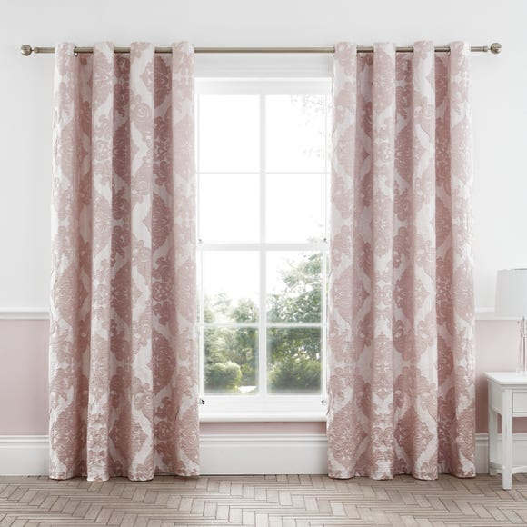Catherine Lansfield Rococo Jacquard Blush Lined Eyelet Curtains Blush