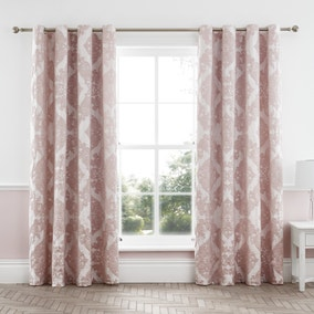 Catherine Lansfield Rococo Jacquard Blush Lined Eyelet Curtains