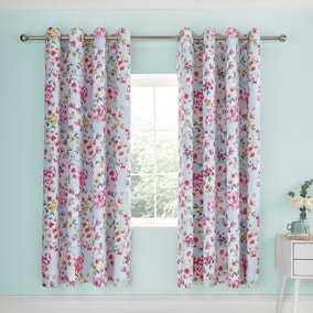 Catherine Lansfield Flower Patchwork Duck Egg Lined Eyelet Curtains
