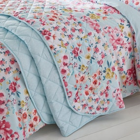 Catherine Lansfield Flower Patchwork Duck Egg Bedspread