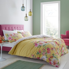 Catherine Lansfield Lille Floral Yellow Duvet Cover and Pillowcase Set