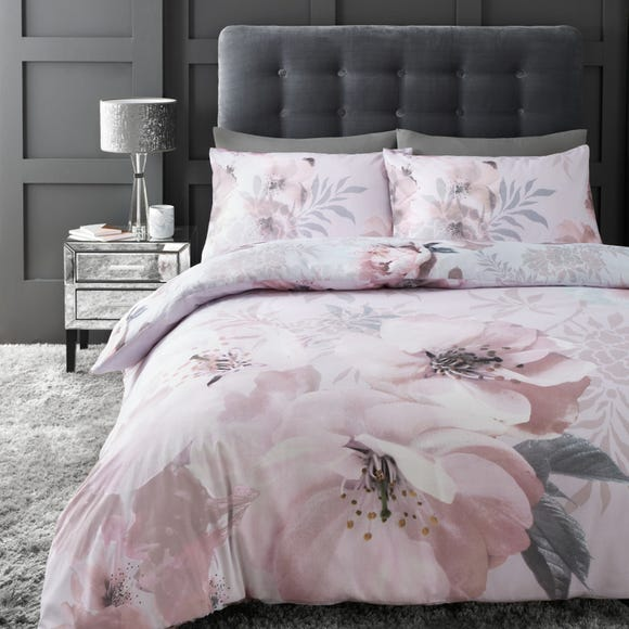 Catherine Lansfield Dramatic Floral Blush Duvet Cover and Pillowcase Set  undefined