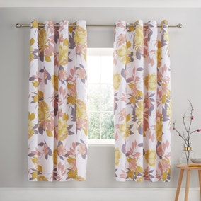 Catherine Lansfield Elina Floral Blush Lined Eyelet Curtains