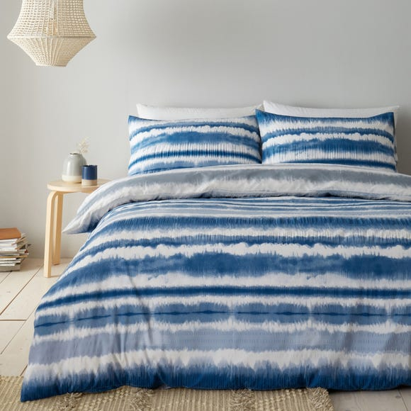 Catherine Lansfield Tie Dye Seersucker Blue Duvet Cover and Pillowcase Set  undefined