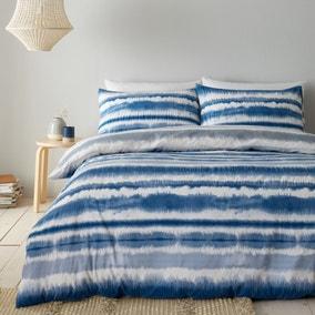 Catherine Lansfield Tie Dye Seersucker Blue Duvet Cover and Pillowcase Set