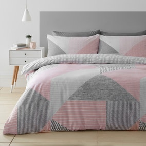 Catherine Lansfield Larsson Geo Pink Duvet Cover and Pillowcase Set