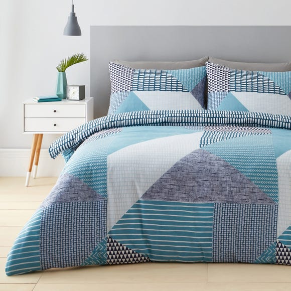 Catherine Lansfield Larsson Geo Teal Duvet Cover and Pillowcase Set Teal undefined