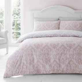 Catherine Lansfield Damask Blush Duvet Cover and Pillowcase Set