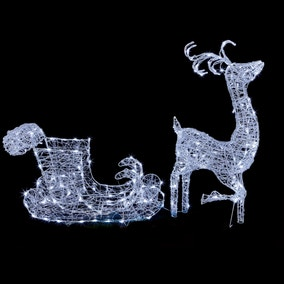 Light-up Reindeer and Sleigh Outdoor Decorations