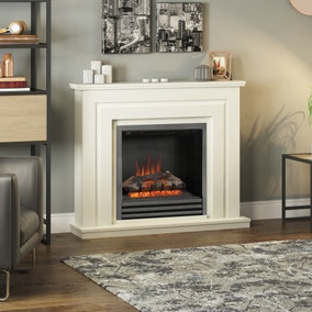 Whitham Electric Fire with Soft White Fireplace Suite