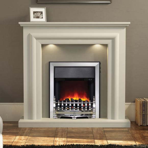 Glenmore Electric Fire with a Soft White Fireplace Suite White