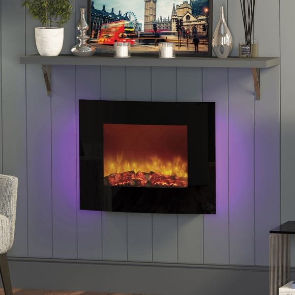 Quattro Black Wall Mounted Electric Fire Black