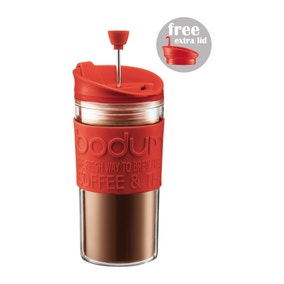 Bodum Red Double Walled Coffee Maker Travel Mug with Extra Lid