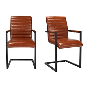 Franklyn PU Leather Pair of Carver Dining Chairs