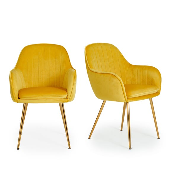 Laila Set of 2 Dining Chairs Yellow