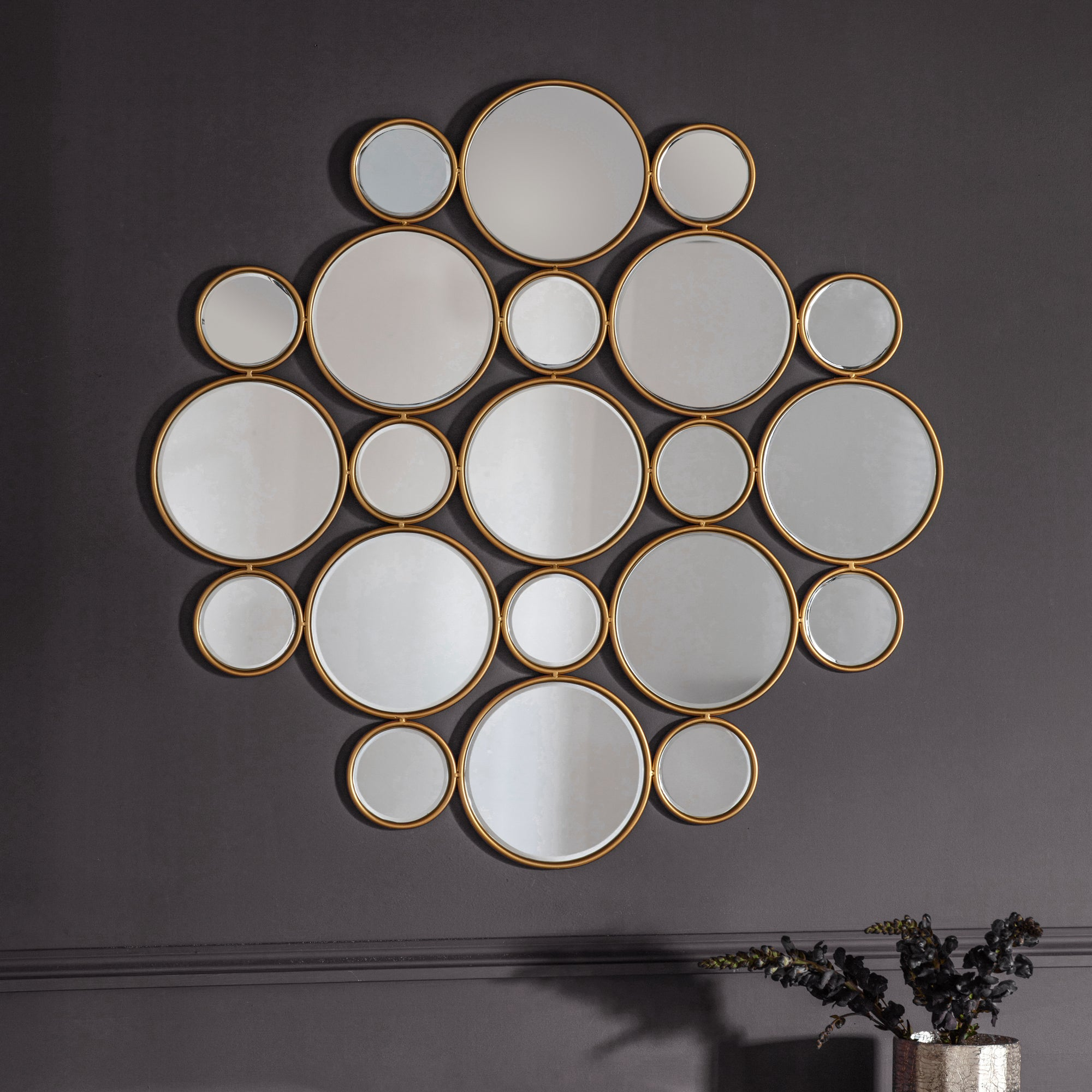 Click to view product details and reviews for Wallis Circles Mirror Gold.