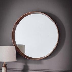 Keaton 73cm Walnut Round Mirror