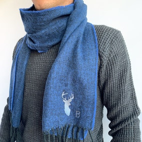 Personalised Mens Blue Alphabet Stag Scarf