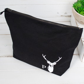 Personalised Men's Alphabet Stag Wash Bag