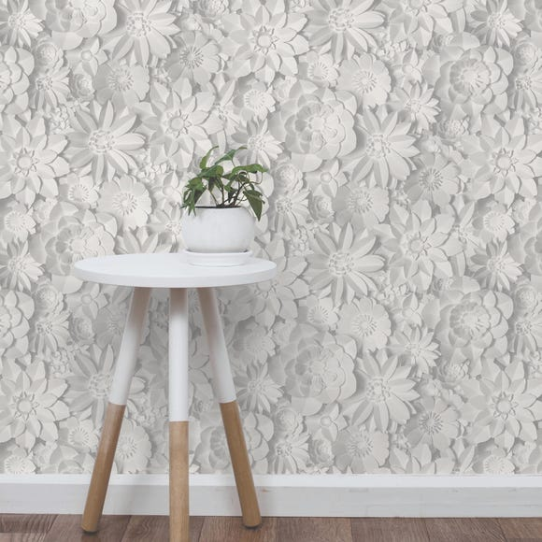 Dimensions White Floral 3D Wallpaper White