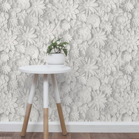 Dimensions White Floral 3D Wallpaper