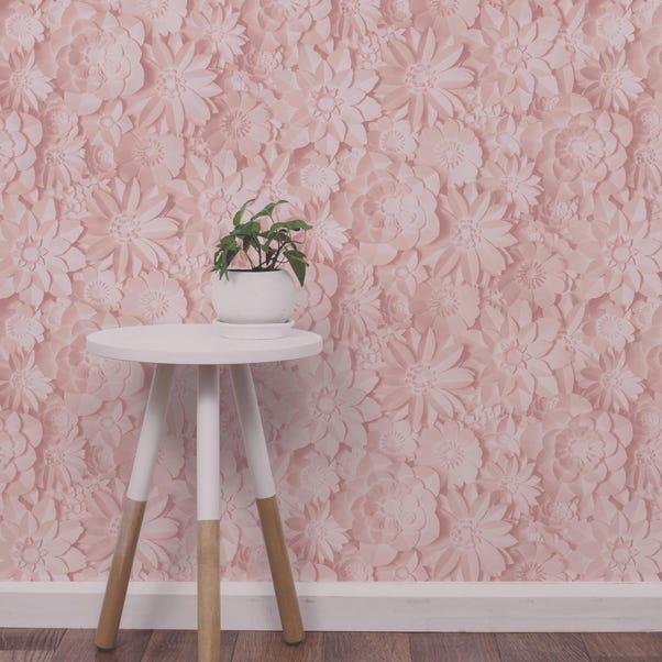 Dimensions Pink Floral 3D Wallpaper Pink