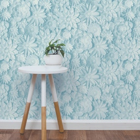 Dimensions Teal Floral 3D Wallpaper