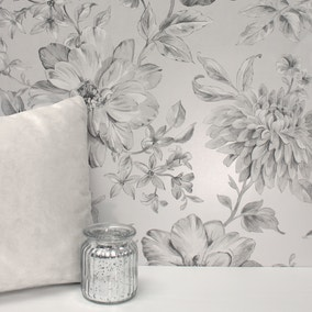 Lucia Silver Floral Wallpaper