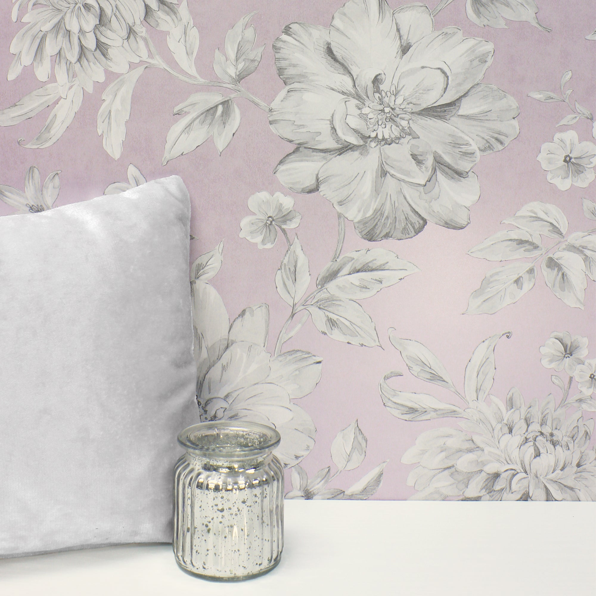 Click to view product details and reviews for Lucia Mauve Floral Wallpaper Purple Grey And White.