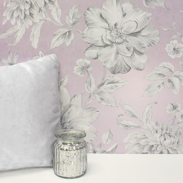 Lucia Mauve Floral Wallpaper Mauve