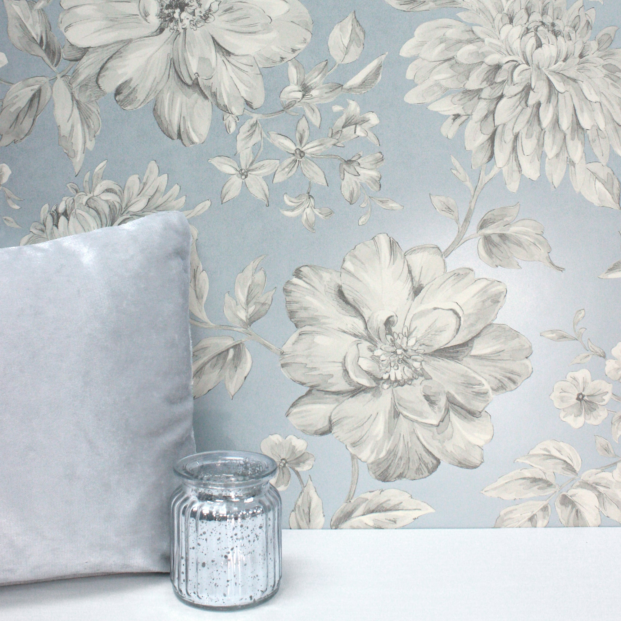 Click to view product details and reviews for Lucia Blue Floral Wallpaper Blue Grey And White.
