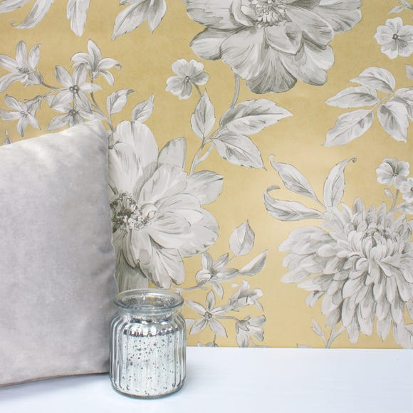 Lucia Yellow Floral Wallpaper Yellow