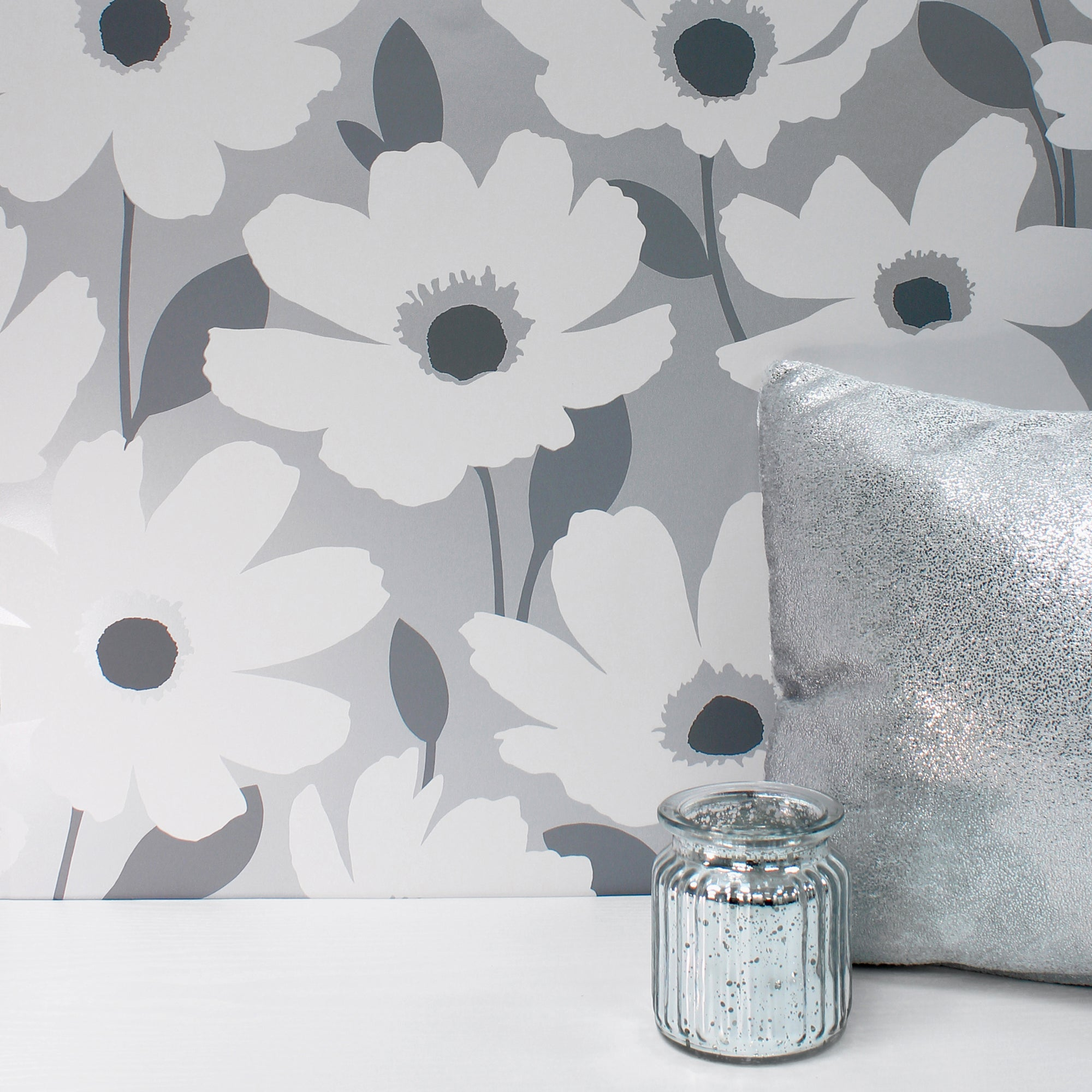 Click to view product details and reviews for Mia Silver Floral Wallpaper Silver Grey And White.