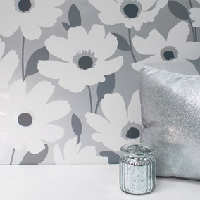 Mia Silver Floral Wallpaper