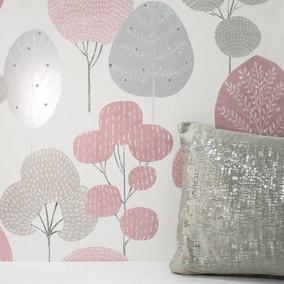 Scandi Blush Forest Wallpaper