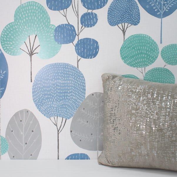 Scandi Blue Forest Wallpaper Blue