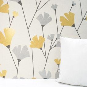 Scandi Mustard Floral Wallpaper