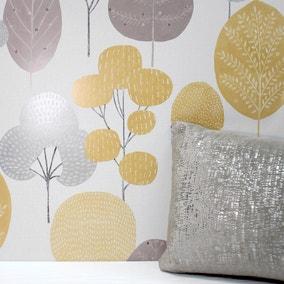 Scandi Mustard Forest Wallpaper