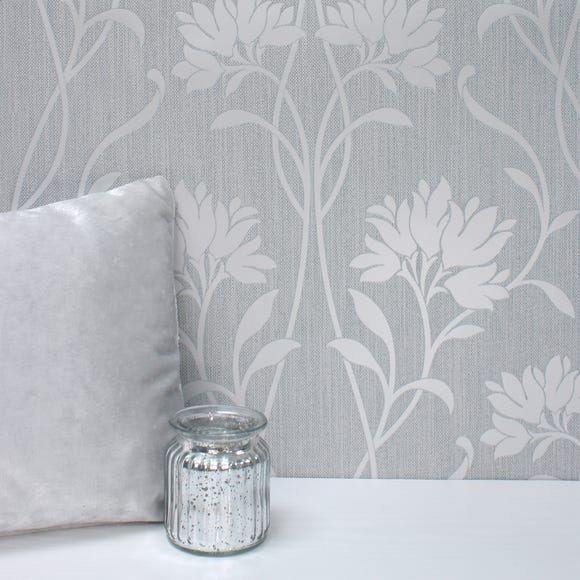 Florence Grey Floral Wallpaper Grey