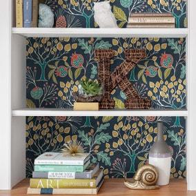 NuWallpaper Groovy Garden Navy Self Adhesive Wallpaper