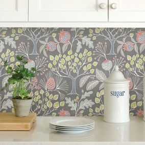 NuWallpaper Groovy Garden Grey Self Adhesive Wallpaper