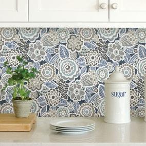 NuWallpaper Dream On Navy Self Adhesive Wallpaper
