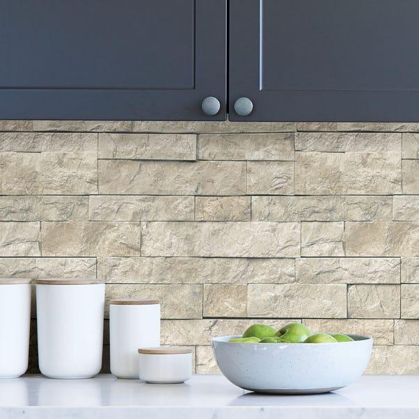 NuWallpaper Landmark Stone Self Adhesive Wallpaper Natural