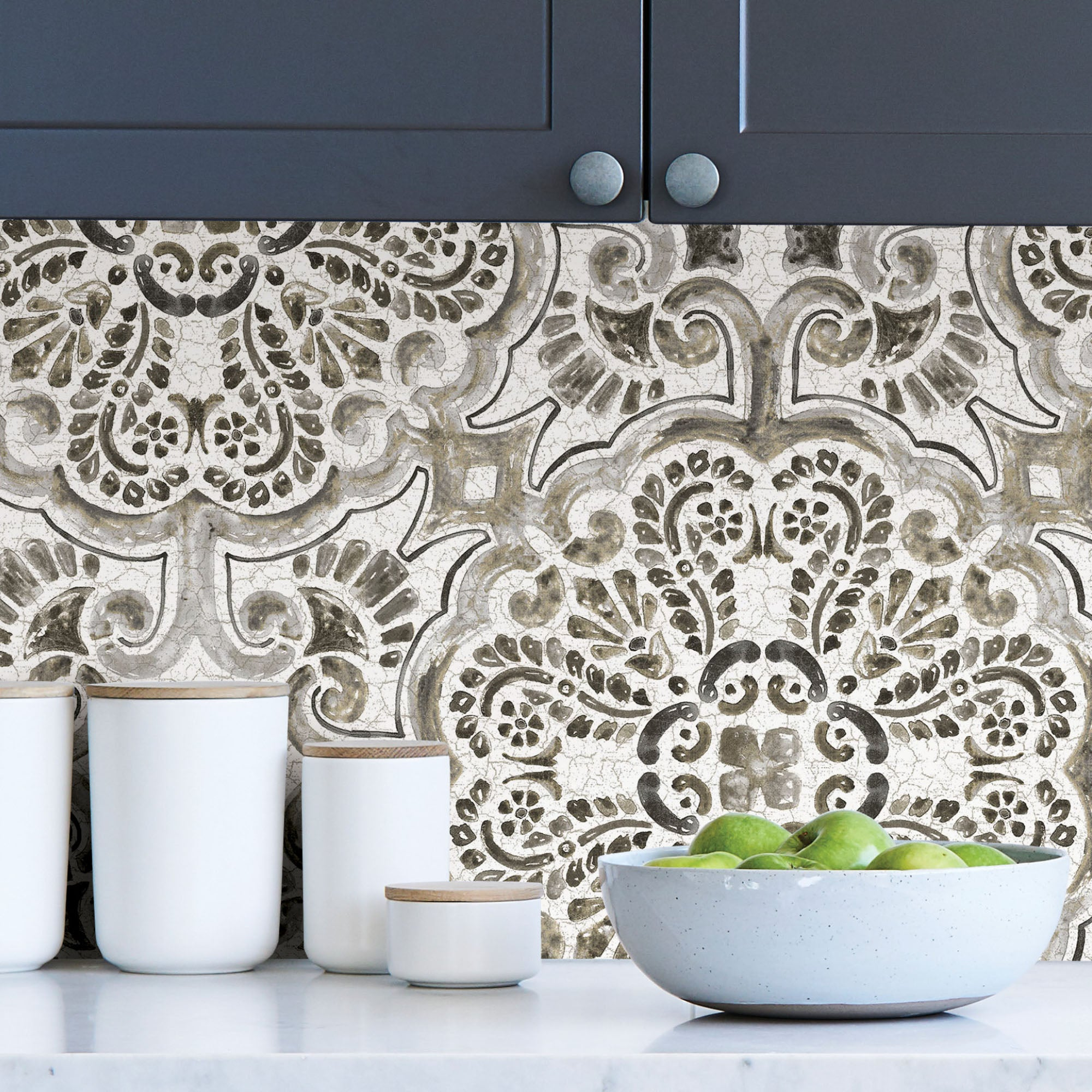 Click to view product details and reviews for Nuwallpaper Florentine Tile Self Adhesive Wallpaper Black And White.